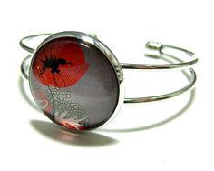 Bijoux de créateur Bracelet Pavot XL 25mm couleur PP : Boucles d'oreille par fleurs-de-ki