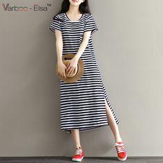 2b1e0707c8 2017 New Summer Style Loose Striped Knit Dresses Casual Fashion Women s  Dresses Vestidos Sweet Elegant Plus Size Dresses Female