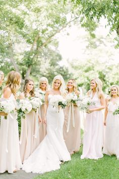 Photography: Mustard Seed Photography   www.mustardseedphoto.com Bridesmaids' Dresses: Amsale Nouvelle   http://amsale.com/bridesmaids/ Wedding Dress: Watters   www.watters.com Floral Design: Maxit Flower Design   maxitflowerdesign.com   View more: http://stylemepretty.com/vault/gallery/37656
