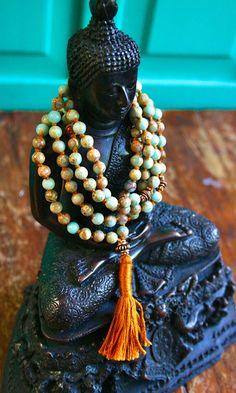 Knotted Gemstone Mala, Prayer Beads, Aqua Terra Jasper