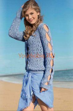 Летний пуловер связанный спицами. Описание, схема Размеры: 34/36 (40/42) Вам потребуется: пряжа (50% хлопка, 50% полиакрила; 65 м/50 г) -650 (750) г голубой; спицы № 5; круговые спицы № 5. Узор 1: резинка = ряды в