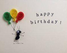 Quilled kaart, de kaart van de groet van de verjaardag, quilled mier met ballonnen, gepersonaliseerd optie beschikbaar