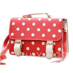 $8.78 Vintage Style Women's Tote Bag With Buckle and Polka Dot Design