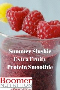 Even the kids are going to love this Summer Slushie Extra Fruity Protein Smoothie. Made with just water, fruit and Boomer Nutrition ENERGY Vanilla Protein Protein Smoothies, Smoothie Recipes, Slushies, Juicing, Raspberry, Vanilla, Nutrition, Fruit, Summer