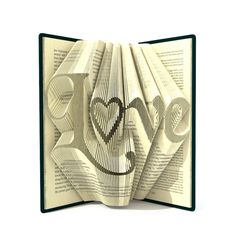 Book folding patterns - LOVE - 284 folds, + Tutorial with Simple folded art pattern - Heart - WO0103