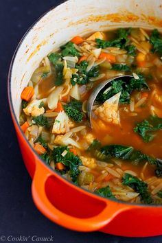 Whole Wheat Orzo, Cauliflower and Kale Soup {Vegan}...A fantastic, hearty soup that's packed with vegetables! 205 calories and 5 Weight Watchers PP  | http://cookincanuck.com #vegetarian