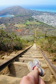Koko Head Crater Trail Hike: Looking down. Koko Crater is on the east side of Oahu in the Hawaii Kai neighborhood. The hike takes your from the Koko Head District Park at the bottom of Koko Crater to it's summit. The trail isn't very long, about 1K (1100 yards) but the challenge is the elevation rise of 1,200 feet.