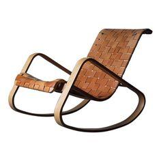 Image of Mid-Century Modern Luigi Crassevig Leather Rocking Chair