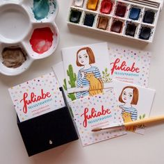 Self-proclaimed illustrator/crazy cat lady, Julia B has some *very* cute Square Business Cards. Etsy Business Cards, Business Postcards, Square Business Cards, Business Card Design, Creative Business, Buissness Cards, Name Cards, Graphisches Design, Graphic Design