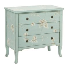 Light Blue Wildflower 3-Drawer Chest | Kirklands