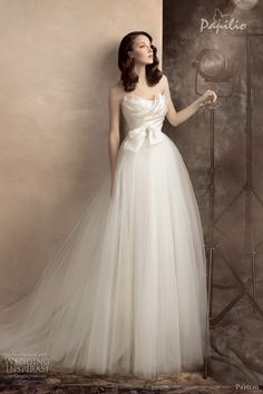 .strapless bridal gown
