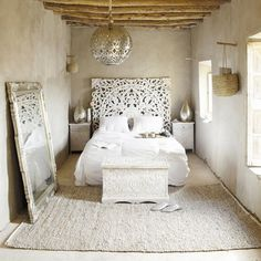 Moroccan Headboard - Moroccan Lighting - Salvaged Wood - Rag Linen Carpet - Etched Wood - White Interiors