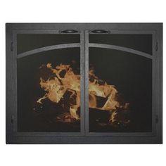 "Ironhaus Elegant Series Fireplace Glass Door Finish: Textured Black, Size: 28"" H x 51"" W x 3"" D"
