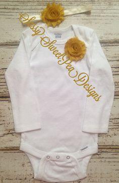 Mustard Shabby Flower Onesie Set..Newborn, Baby, Girls Photo Prop Bow by SassySweetPeaDesigns on Etsy
