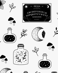 Informations About Seamless Pattern, Digital Paper, Moon Crescent. Best Picture For Tattoo Style n Doodle Tattoo, Doodle Art, Dog Tattoos, Small Tattoos, Mushroom Tattoos, Witch Tattoo, Illustration Botanique, Modern Witch, Witch Art