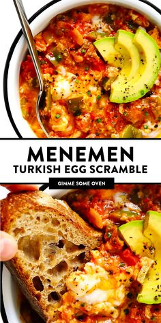Menemen (a traditional Turkish breakfast egg scramble) is made with tomatoes, eggs, peppers, and onions, and served hot Healthy Breakfast Recipes, Vegetarian Recipes, Cooking Recipes, Healthy Recipes, Vegetarian Breakfast, Veggie Egg Recipes, Best Egg Recipes, Dinner Healthy, Eating Healthy