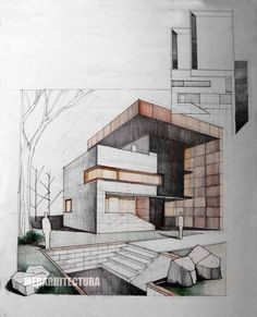 Modern House Drawing Sketch with Color. 20 Modern House Drawing Sketch with Color. 25 Best Looking for Modern House Drawing with Color Architecture Design Concept, Stairs Architecture, Modern Architecture House, Architecture Drawings, Facade Design, Brick Design, Landscape Architecture, House Sketch, House Drawing
