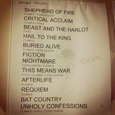 Set list for Rock In Rio show, 9/22/13 Avenged Sevenfold