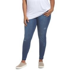Plus Size Women's Hue Selvage Edge Ripped Denim Leggings (195 RON) ❤ liked on Polyvore featuring plus size women's fashion, plus size clothing, plus size pants, plus size leggings, medium wash, plus size, blue jean leggings, denim leggings, plus size ripped leggings and jean leggings