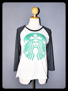 New Starbucks Shirt 3/4 Sleeve Raglan Baseball Jersey T Shirts Long Sleeved