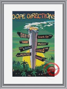 Weed Directions Street Sign Cross Stitch Printable Needlework Pattern - DIY Crossstitch Chart, Relaxing Hobby, Instant Download PDF Design