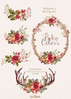 Watercolor Boho Clipart. Flowers Wreath and Bouquets. Wedding