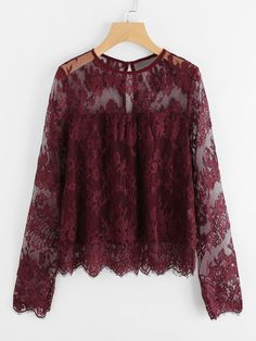 Shop Scallop Trim Floral Eyelash Lace Top online. SheIn offers Scallop Trim Floral Eyelash Lace Top & more to fit your fashionable needs.