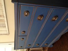 Details. Annie Sloan's napoleonic blue. Perfect for a Nautical themed nursery! Antique changing table redo.