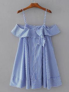 SheIn offers Cold Shoulder Striped Ruffle Top & more to fit your fashionable needs. Baby Dress Design, Baby Girl Dress Patterns, Gowns For Girls, Girls Dresses, Modern Hijab Fashion, Fashion Design For Kids, Girl Outfits, Fashion Outfits, Girls Party Dress