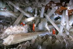 """Cave of Crystals """"Giant Crystal Cave"""" at Naica, Mexico  Caverns discovered during mining operations contain crystals of selenite (gypsum) as large as 4 feet (1.2 m) in diameter and 50 feet (15 m) long.  Naica lies on an ancient fault and there is an underground magma chamber below the cave. The magma heated the ground water and it became saturated with minerals, including large quantities of gypsum. The hollow space of the cave was filled with this mineral-rich hot water and remained filled…"""