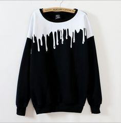 Color: black, white  Size :free  Length 69cm, bust 106cm,sleeve 72cm