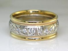 Custom Wedding Ring  Beautiful Custom wedding ring, 14K Yellow and white gold with ideal cut diamonds!