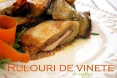Rulouri de vinete la cuptor Moussaka, Vegetable Recipes, Mozzarella, Pork, Rolls, Cooking Recipes, Tasty, Meat, Chicken