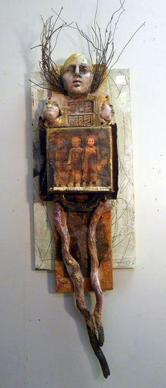 """Mama at the Crossroads"" by Lyn Belisle 2015 encaustic, earthenware, found objects - www.lynbelisle.com"