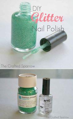Turn any nail polish into GLITTER nail polish. | 32 Easy Nail Art Hacks For The Perfect Manicure