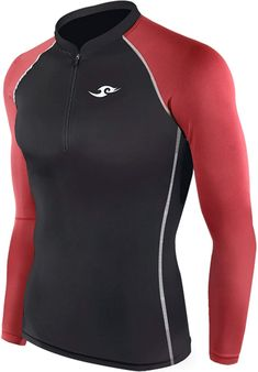 ed87fa38eb8cc New 012 Skin Tights Compression Base Layer Black Red Running Zip Up Top Mens  - CO11KG1LJ9B