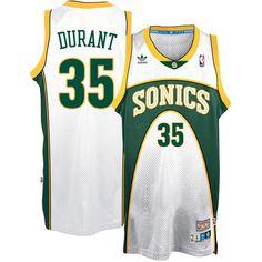 ea3609ffa1f356 Men's Seattle SuperSonics Kevin Durant adidas White Throwback Home Hardwood  Classics Swingman climacool Jersey