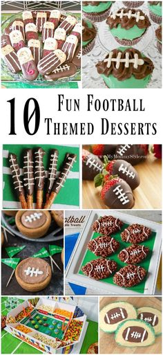 Throw a fabulous football party with these 10 Fun Football Themed Game Day Desserts Planning a game day party? Here are 10 fun football themed game day desserts for your party spread! Brownies, cupcakes, pretzels, and more! Tailgate Desserts, Football Desserts, Football Treats, Football Party Foods, Football Food, Party Desserts, Dessert Recipes, Football Recipes, Team Snacks