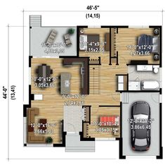 Contemporary Starter Home - floor plan - Main Level Small House Floor Plans, House Plans One Story, Family House Plans, New House Plans, Loft House Design, Small House Design, Modern House Design, Plan Chalet, Modern Bungalow House