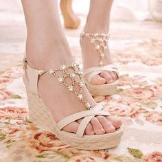 Aliexpress.com : Buy 2014 Spring and Summer New Female High Heeled Sandals Crystal Crass Strap Wedges Princess Shoes Free Shipping XWZ414  from Reliable shoes fringe suppliers on Direction  | Alibaba Group
