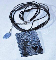 Pendentif portrait de femme coeur - pendentif - Cre'Ana shop - Fait Maison