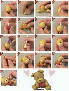 DIY tutorial by LSCreations on how to make a polymer clay teddy bear!