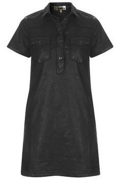 MOTO Coated Denim Shirt Dress