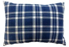 Blue and white plaid pillow, doesn't get more classic.