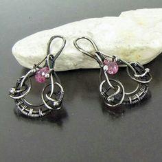 #Silver #silverearrings #dangleearrings #oxidizedsilver #wirewrap #wirewrappedjewelry