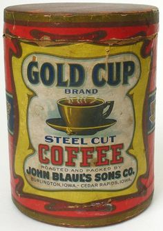 Gold Cup Brand Coffee Vintage Tins, Vintage Coffee, Vintage Labels, Vintage Kitchen, Coffee Tin, Coffee Cafe, Best Coffee, Coffee Branding, Coffee Packaging