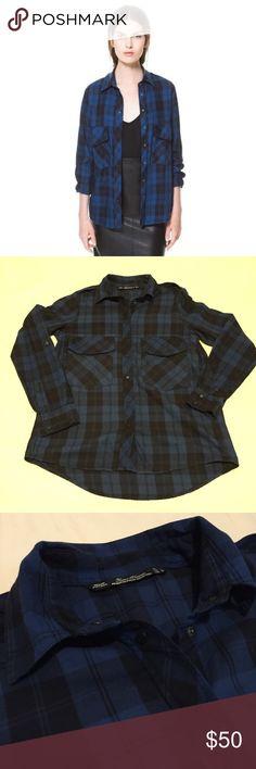 Zara Blue Check Button Down Shirt In great preworn condition. ❌NO TRADES❌ Zara Tops Button Down Shirts
