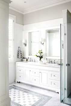 SCONCES AND TINY LED IN CEILING highgate-house-bright-white-bathroom-cococozy