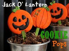 Jack O'Lantern Cookie Pops