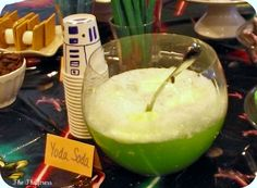 Yoda Soda: 1 46oz can green Hawaiian Punch, 1 2liter bottle of Sprite, 2qts lime sherbert. This would be a wonderful idea for the Toy Story Party...maybe Martian Mash or Martian Milk or perhaps Alien-Ale or Alien-Aid instead of the clever Yoda Soda for this event ;)